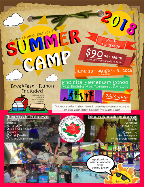 RSD Summer Day Camp Flyer