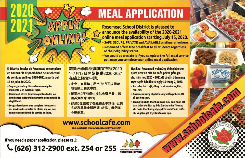 2020-21 Meal Application Information