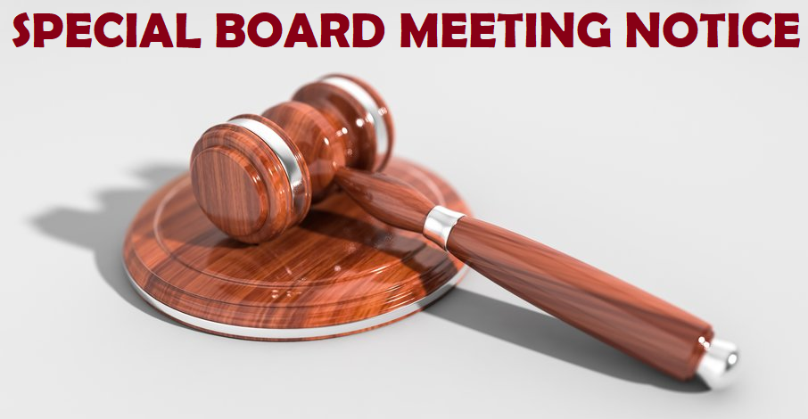 Special Board Meeting - Rescheduled to Aug. 14, 2019